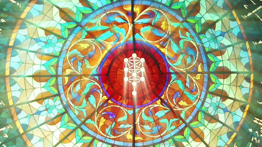 Stained Glass with Kabbalah tree symbol (HQ 1080p Seamless Loop)