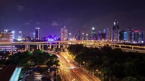 Shanghai 's cityscape , night , 4k, Time Lapse