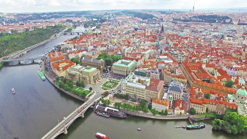 Area Old Town, Charles Bridge, Prague Castle and Vltava River. Czech Republic.