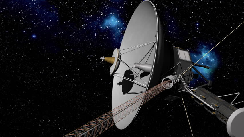 Voyager Space probe pull out on starry background. 