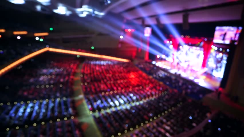 Live concert inside a huge hall, out of focus background. | Shutterstock HD Video #12928091