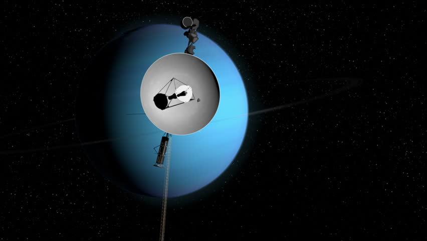 Voyager 2 space probe approaching Uranus.