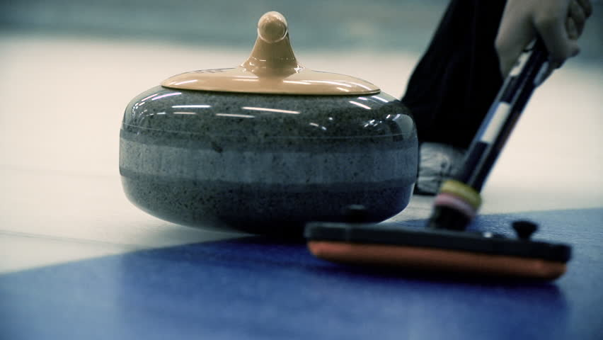 Curling. Winter Olympic sport. Slow motion