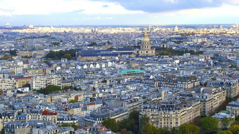 Aerial view of Paris Skyline from Eiffel Tower in Paris, France