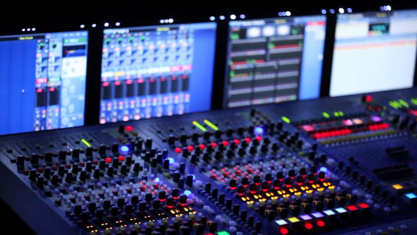Modern mixer panel is during a concert in the dark | Shutterstock HD Video #1296721