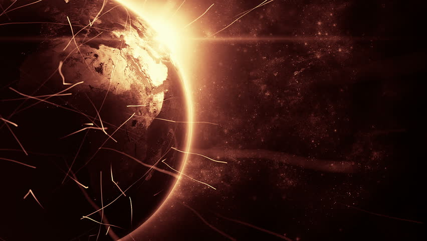 Animation rotation of glowing globe of earth with view from space and flare of light. Technologic background with lines of data transfering or routes of rockets. Animation of seamless loop. | Shutterstock HD Video #12979481