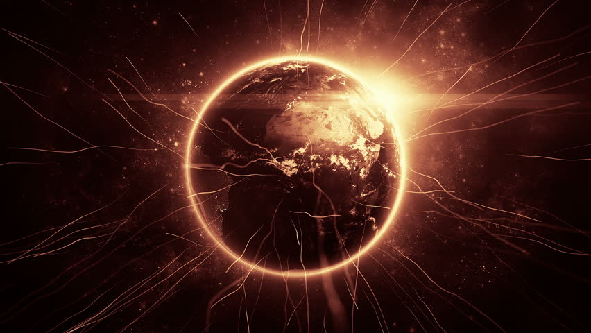 Animation rotation of glowing globe of earth with view from space and flare of light. Technologic background with lines of data transfering or routes of rockets. Animation of seamless loop.   Shutterstock HD Video #12979502