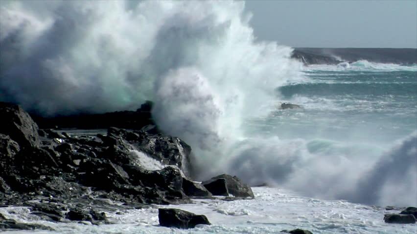 Extreme wave crushing coast slowmo | Shutterstock HD Video #1298011