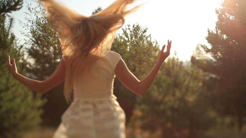 Beautiful Female Spinning Bride Dress Slow Motion Forest Nature | Shutterstock HD Video #13012202