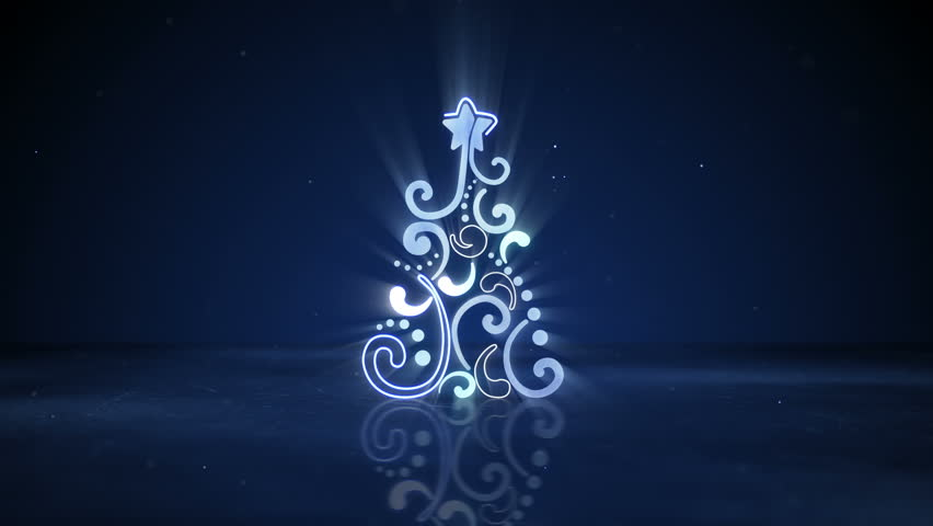 Glowing neon christmas tree shape. Computer generated seamless loop abstract holiday animation. 4k (4096x2304)