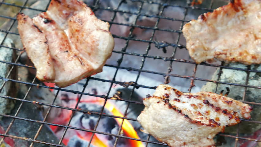 Bar-B-Q or BBQ with kebab cooking. coal grill   Shutterstock HD Video #13042436