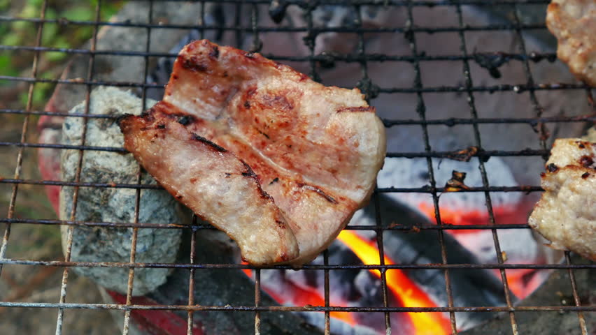 Bar-B-Q or BBQ with kebab cooking. coal grill   Shutterstock HD Video #13042442