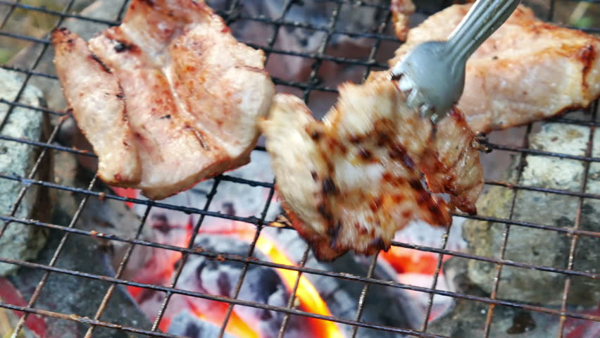 Bar-B-Q or BBQ with kebab cooking. coal grill   Shutterstock HD Video #13042448