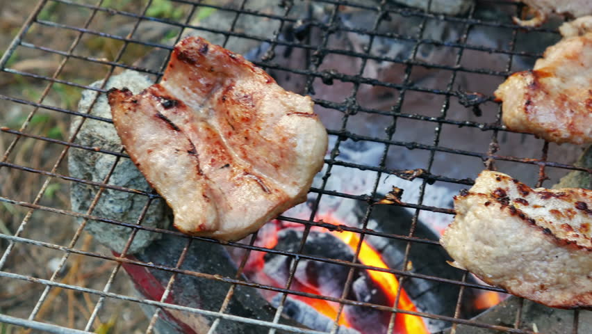 Bar-B-Q or BBQ with kebab cooking. coal grill | Shutterstock HD Video #13042451