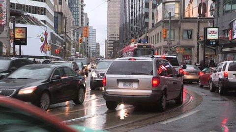 Toronto, Ontario, Canada November 2015 Toronto downtown traffic jam and gridlock
