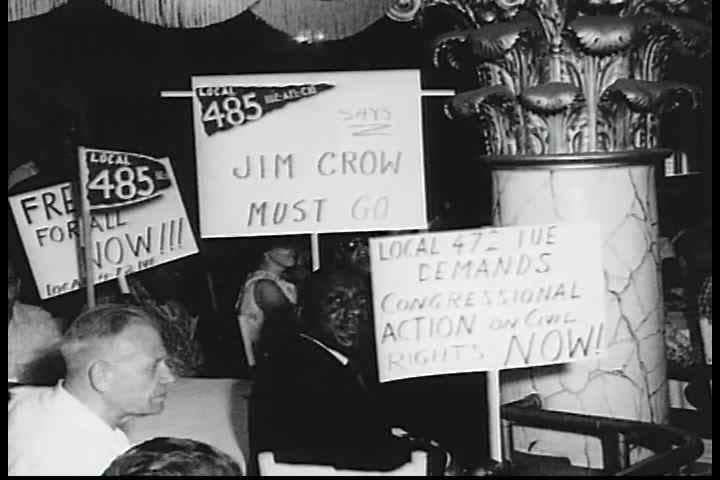 CIRCA 1960s - Chairman, Milton Wyrock gives a speech at an AFL-CIO civil rights rally in the 1960s.