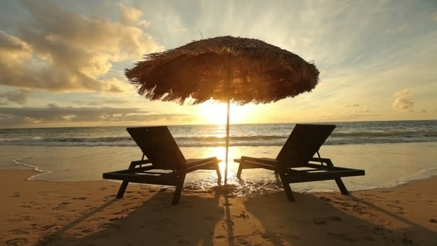 Cinemagraph - Sunrise at tropical beach with chairs and hut. Looping Motion Photo.  | Shutterstock HD Video #13097036