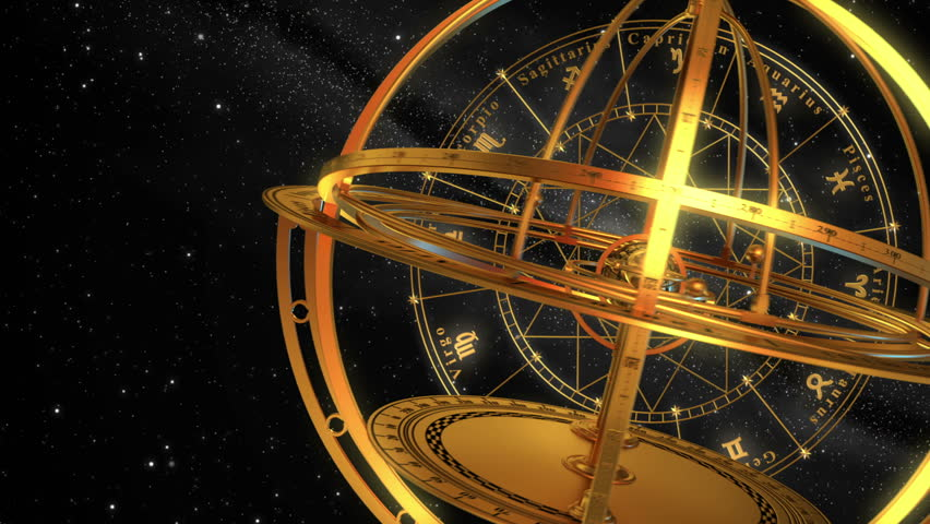 Armillary Sphere And Zodiac Signs. Black Background. 3D Animation.   Shutterstock HD Video #13110131