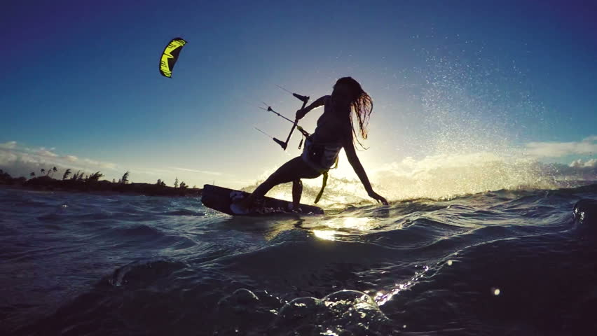 Beautiful Girl Having Fun Summer Extreme Water Sports Kite Surfing in Bikini. Slow Motion. #13139501