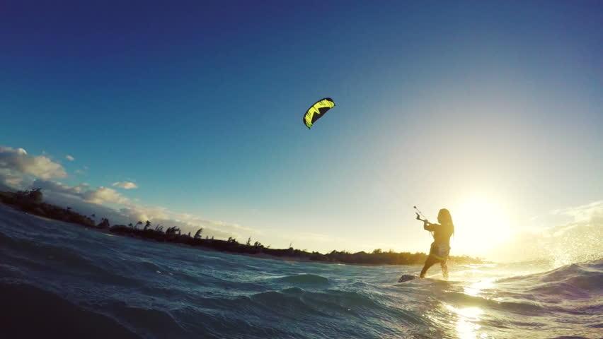 Extreme Kitesurfing at Sunset. Summer Ocean Sport in Slow Motion. Girl Kite Surfing in Bikini #13139519