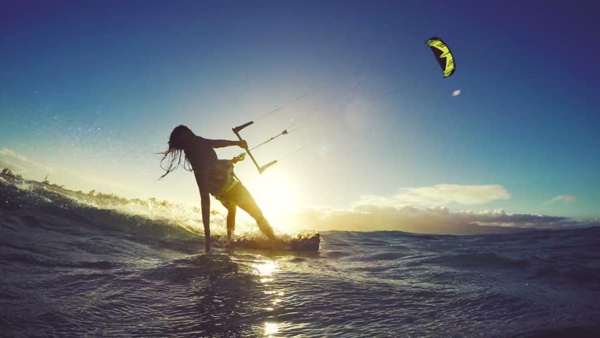 Extreme Kitesurfing at Sunset. Summer Ocean Sport in Slow Motion. Girl Kite Surfing in Bikini #13139534