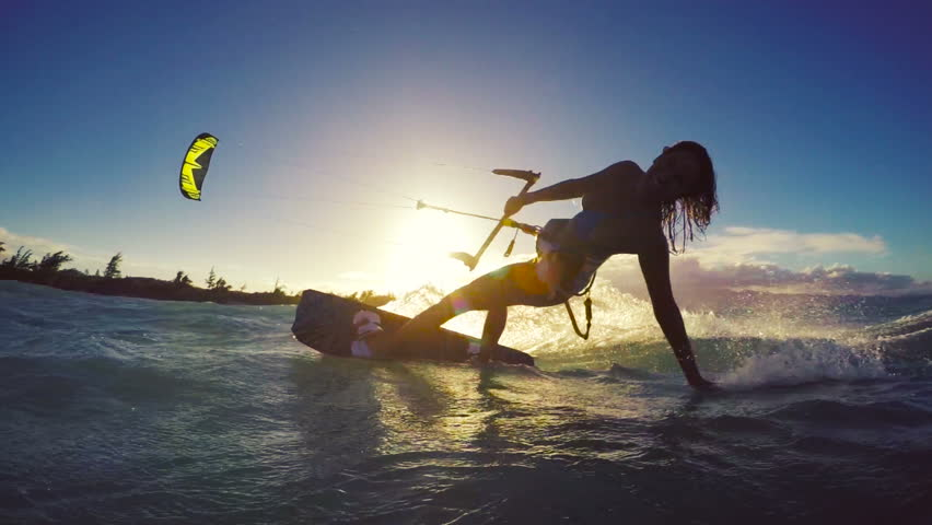 Extreme Kitesurfing at Sunset. Summer Ocean Sport in Slow Motion. Girl Kite Surfing in Bikini #13139552