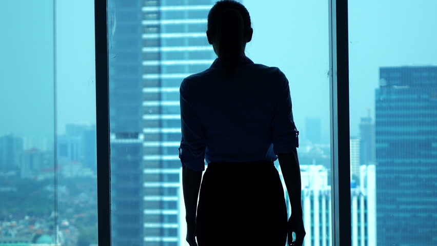Businesswoman admire view from window in office  #13161644