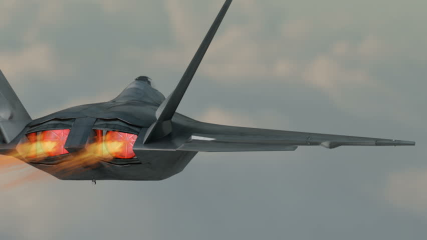 Military plane fighter jet F-22 raptor drops bombs from a high altitude.realistic 3d cg animation