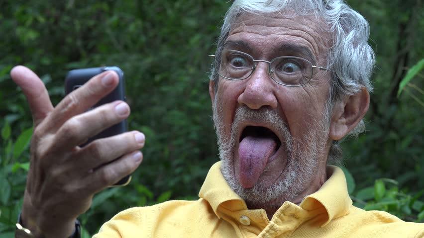 Elderly Old Man Taking Selfie | Shutterstock HD Video #13182368