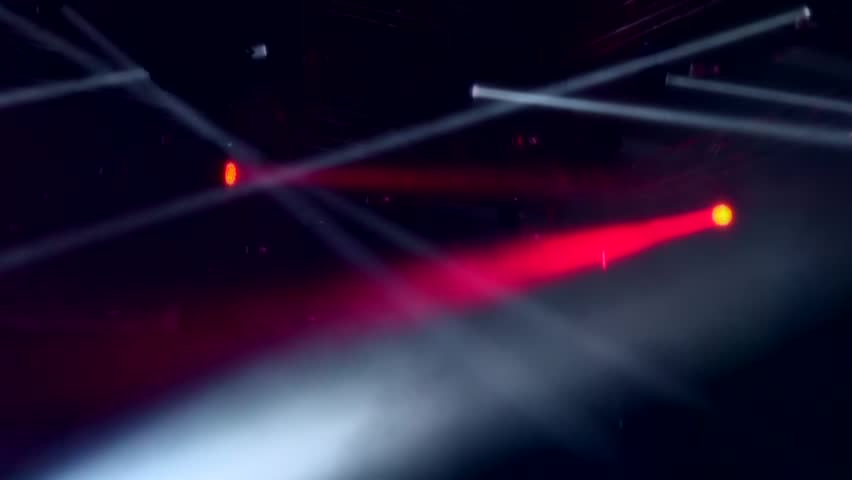 background Bright stage lights flashing spotlight with Laser rays. Soft focus effect #13199750