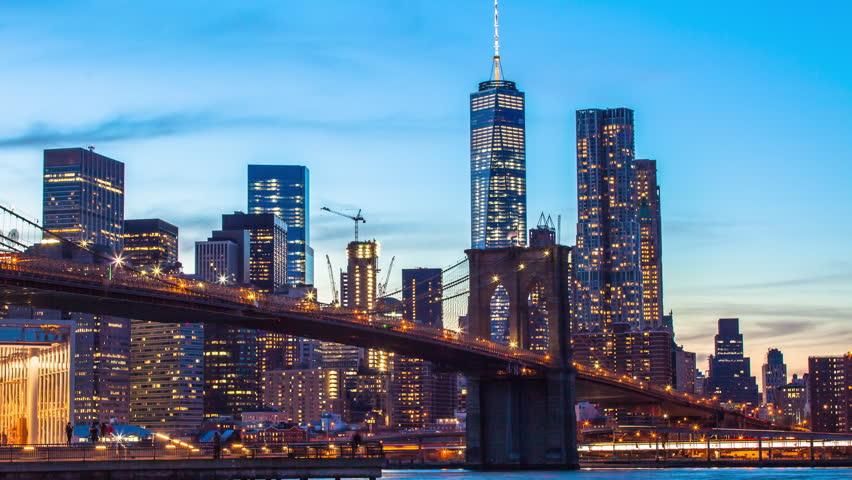 Time lapse sunset shot of lower Manhattan and Brooklyn bridge, New York, USA | Shutterstock HD Video #13209998