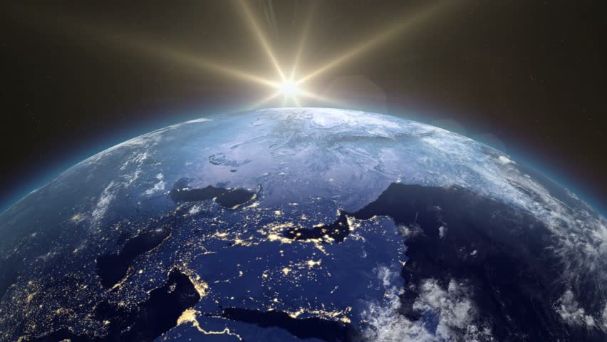 Beautiful Sunrise Over The Earth. The transition from night to day. Sunrise From Space. Earth From Space. v.2. | Shutterstock HD Video #13210112