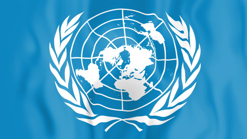 Animated flag of the United Nations in slow motion