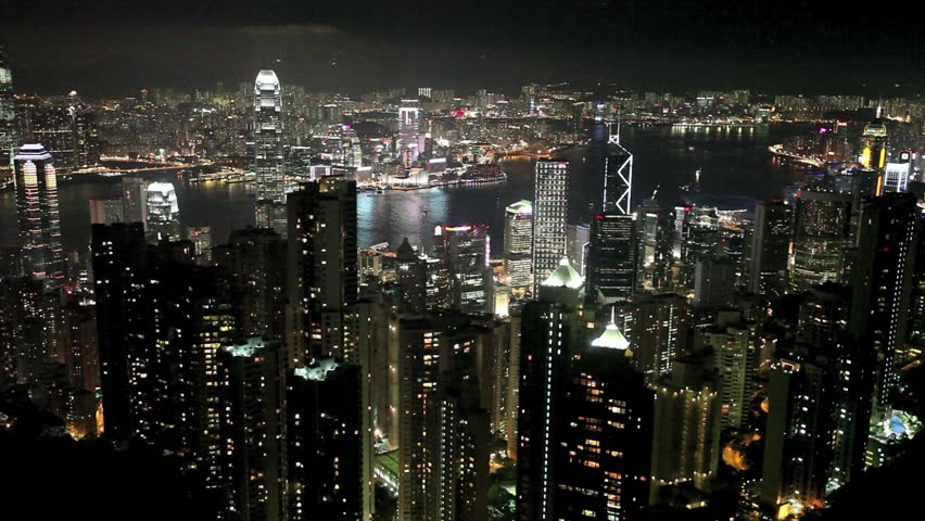 Hong Kong skyline from famous Peak View at night   Shutterstock HD Video #1321993