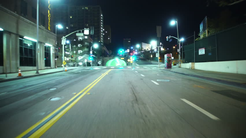 Driving Plates Tunnels Night 02 Front View LA Downtown 2nd Street Tunnel West bound | Shutterstock HD Video #13225667
