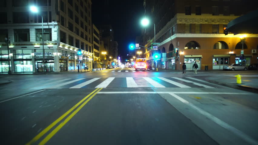 Driving Plates LA Downtown Broadway Front View 01 South bound at 5th to 6th St | Shutterstock HD Video #13225829