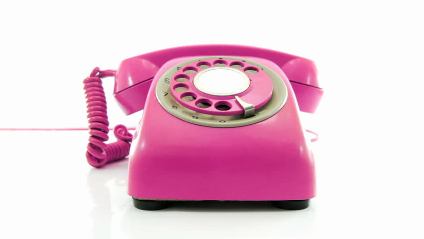 retro pink phone ringing