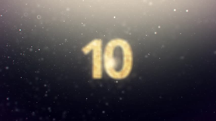 New Year Countdown With Snow Background And Gold Digits