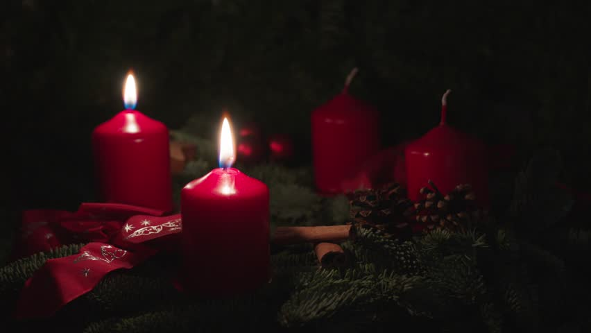 advent wreath, two candles, red christmas wreath