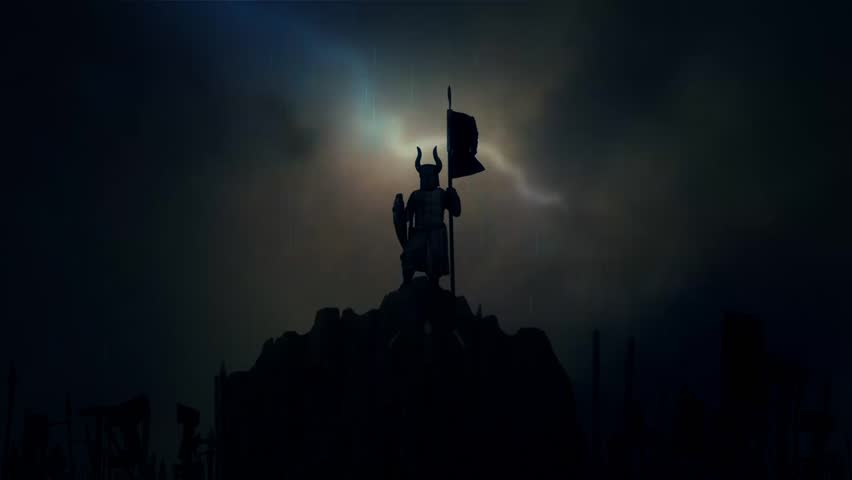 Victorious Knight Wearing a Helmet with Horns Holding a Waving Flag While Armed Soldiers Cheering him Under a Lightning Storm