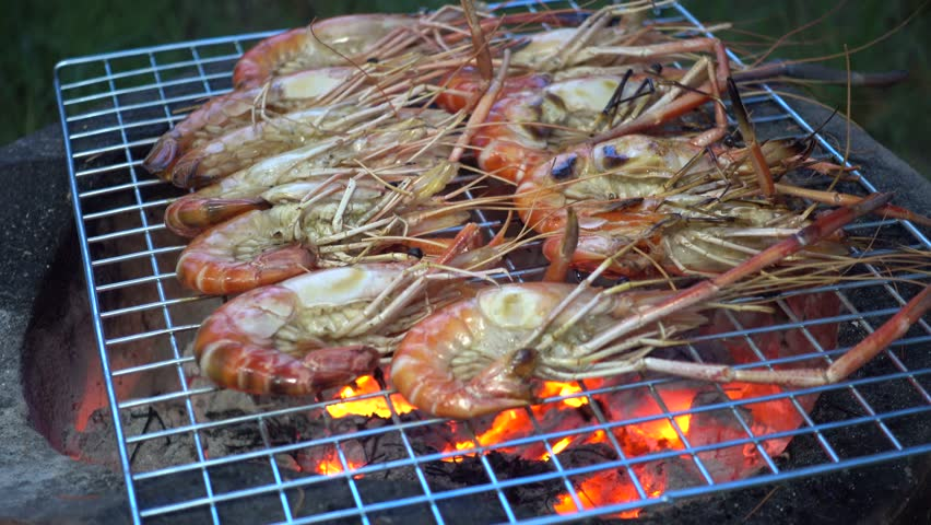 Barbecue grill shrimp on the barbecue grill   Shutterstock HD Video #13309436