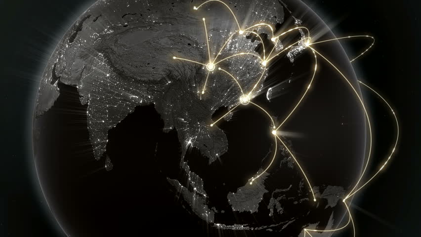 Growing network connection around the world. Global network, internet concept. Orange version. Loopable. 4K #13313147