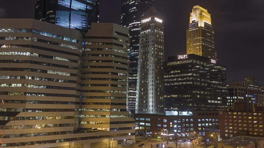 Minneapolis Downtown Skyline and Intersection Timelapse at Night | Shutterstock HD Video #13314944