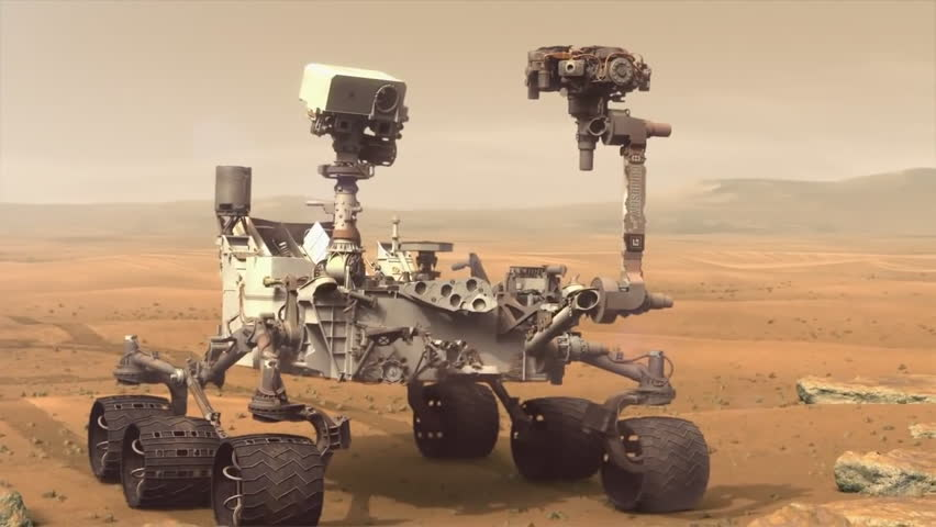 CIRCA 2010s - NASA animation of the Curiosity Rover on the surface of Mars.