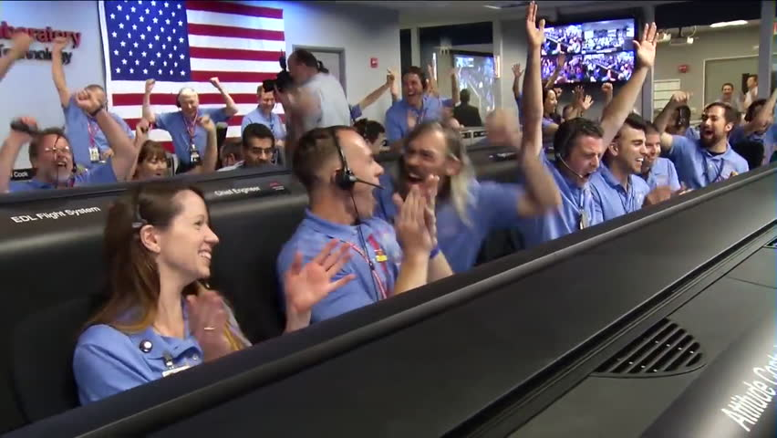 CIRCA 2010s - The Curiosity Rover lands on Mars August 5, 2012 includes animations of landing.