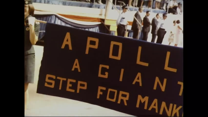 CIRCA 1970s - Crowds and parades greet the astronauts returning from the moon and the Apollo 11 mission.   Shutterstock HD Video #13342808