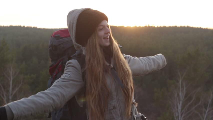 Beautiful Girl Freedom Happy Tourist   Shutterstock HD Video #13343162