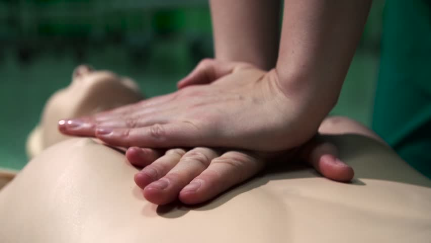 First Aid Cardiopulmonary Resuscitation CPR Technique How to Royalty-Free Stock Footage #13343300