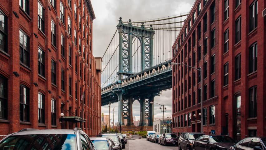 Motion time lapse hyperlapse of Manhattan bridge from Washington street, Brooklyn, New York, USA | Shutterstock HD Video #13348748