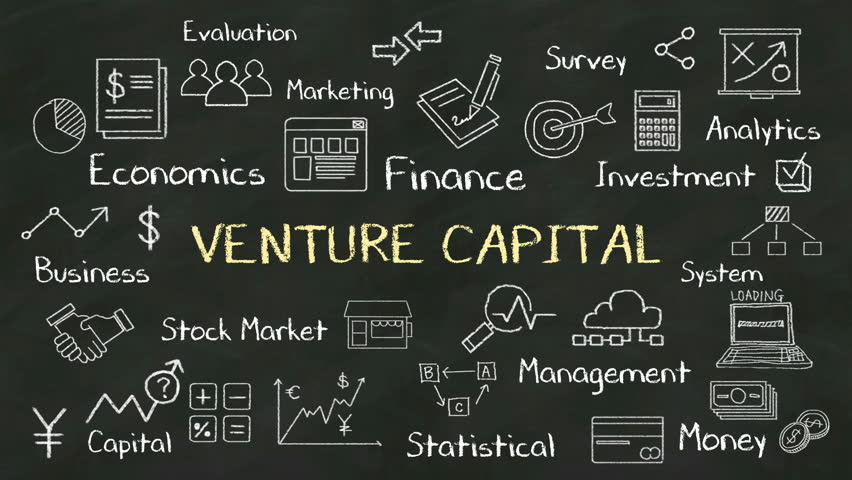 Handwriting concept of 'VENTURE CAPITAL' at chalkboard. with various diagram.(included alpha) | Shutterstock HD Video #13350029
